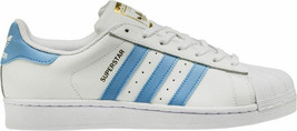 Adidas Original Men's Superstar NEW AUTHENTIC White/Light Blue/Gold BY3716 - $69.49