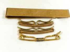 Antique Vintage lot of 4 Gold top filled rolled Swank tie bar clasp pin - $51.48