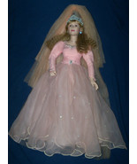 "Vtg 1988 Fairy Godmother Porcelain Doll 24"" Danbury Mint Pink Dress w/Box - £39.37 GBP"