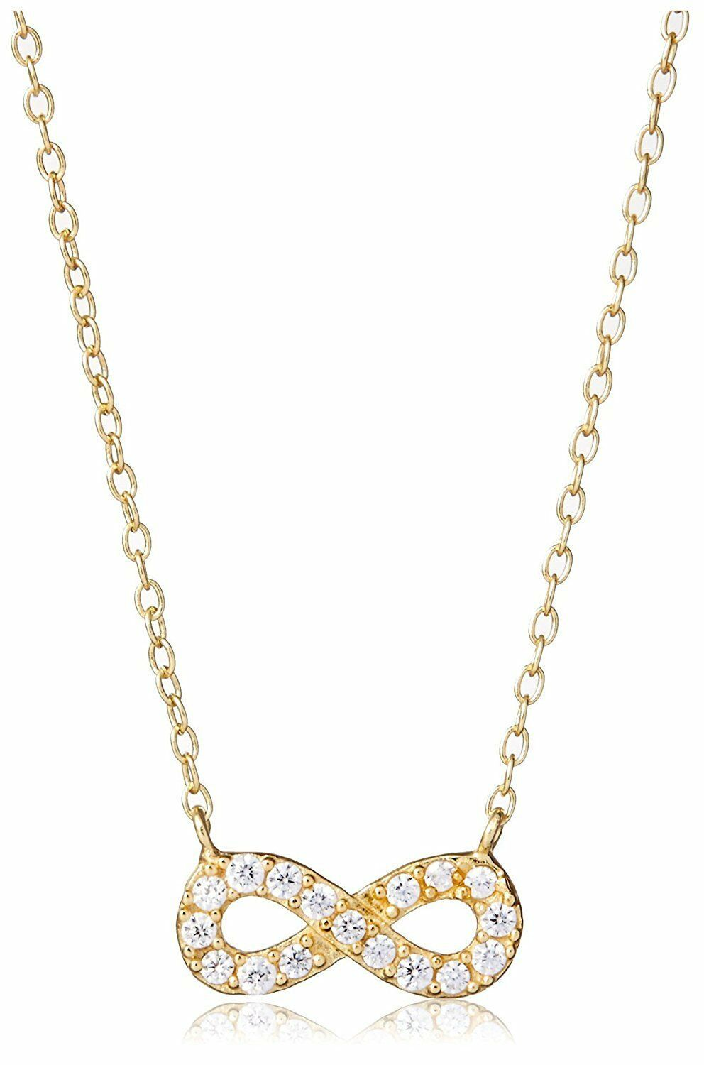 Dolce Vetra Gold P Sterling Silver Cubic Zirconia Crystal Pave Eternity Necklace
