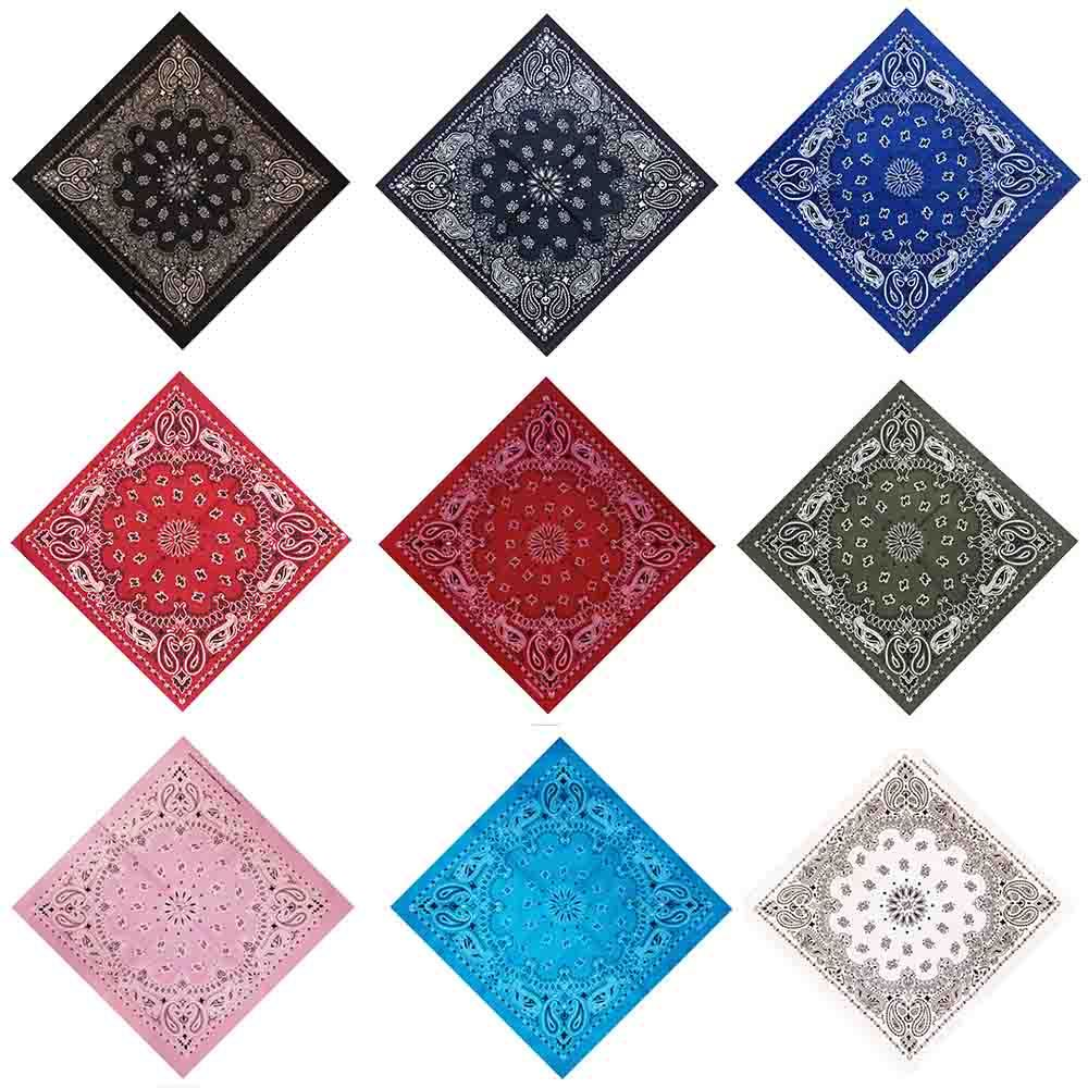 55*55cm Hip Hop Cotton Paisley Bandanas Head Wrap Black Red White etc 10 colors  image 2