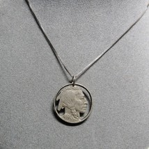Genuine 1936 Cut Out Buffalo Nickel Pendant on Sterling Silver Chain Nec... - $25.74