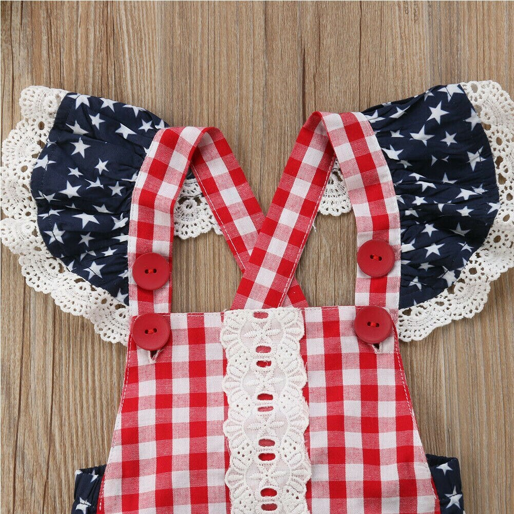 Cute Infant Baby Girls Clothes Fly Sleeve plaid Romper Bodysuit Jumpsuit Outfits image 4
