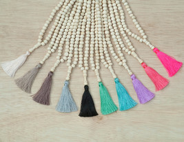 Agarwood Mala Necklace - Natural Wood Beads Tassel Necklace Traditional ... - $29.00