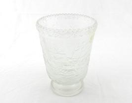 Fenton Art Glass Crystal Velvet Currier & Ives CandleHolder / Vase / Spo... - $29.35