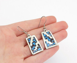 MEXICO 925 Silver - Vintage Turquoise Mosaic Pattern Dangle Earrings - E... - $27.29