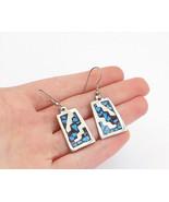 MEXICO 925 Silver - Vintage Turquoise Mosaic Pattern Dangle Earrings - E... - $27.29
