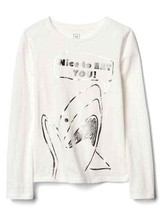 Gap Kids Girl T-shirt 4 5 6 7 8 10 12 Graphic Shark Long Sleeve Crew Nec... - $14.95