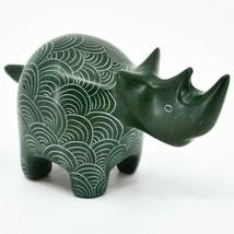 Vaneal Group Hand Carved Kisii Soapstone Green Rhinoceros Rhino Figure Kenya image 1