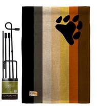 Bear Brotherhood Burlap - Impressions Decorative Metal Garden Pole Flag Set GS14 - $33.97