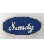 Patch Sandy Embroidered Name Tag Blue Sew On White Italicized Written Le... - $3.99