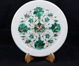 """8"""" Marble Serving Dish Malachite Floral Inlay Plate Marquetry Arts Decor H5410 - $114.44"""