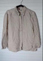 JM Collection Light Tan 100% Linen Button up Long Sleeve Shirt Top Size 12 - $17.82
