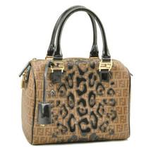 FENDI Zucchino Canvas Hand Bag Brown Leopard PVC Leather Auth 9033 - $598.00
