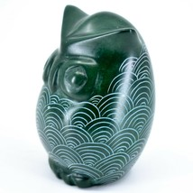 Tabaka Chigware Hand Carved Kisii Soapstone Green Owl Figurine Handmade in Kenya image 2