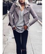 New light grey faux suede motorcycle women jacket spring summer gray mot... - $64.00