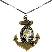 Anchor Cameo Pendant Necklace Antique Brass 2pc Chain Pouch for Gift  - $34.22