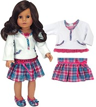 Hot Pink & Teal Skirt & White Lace Trim Top, Fits 18 Inch Dolls - $14.96