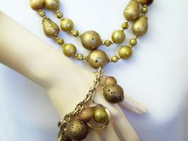 Vintage ART Necklace 2 Strand Gold Cork Wood Bead Bracelet Gold Plated Charm - $22.28