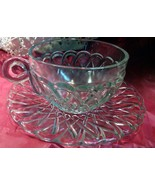 Indiana Glass Clear Pretzel 9 ounce Cup & Saucer VINTAGE - $8.00