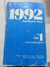 1992 Ford Specification Book Service Manual OEM Car Front Wheel Drive - $2.66