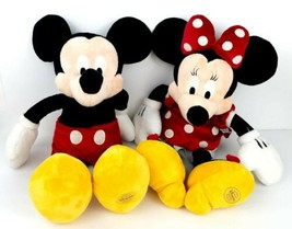 Genuine Authentic Disney Store Mickey and Minnie Mouse Plush Toys HOT DOG!  - $45.00