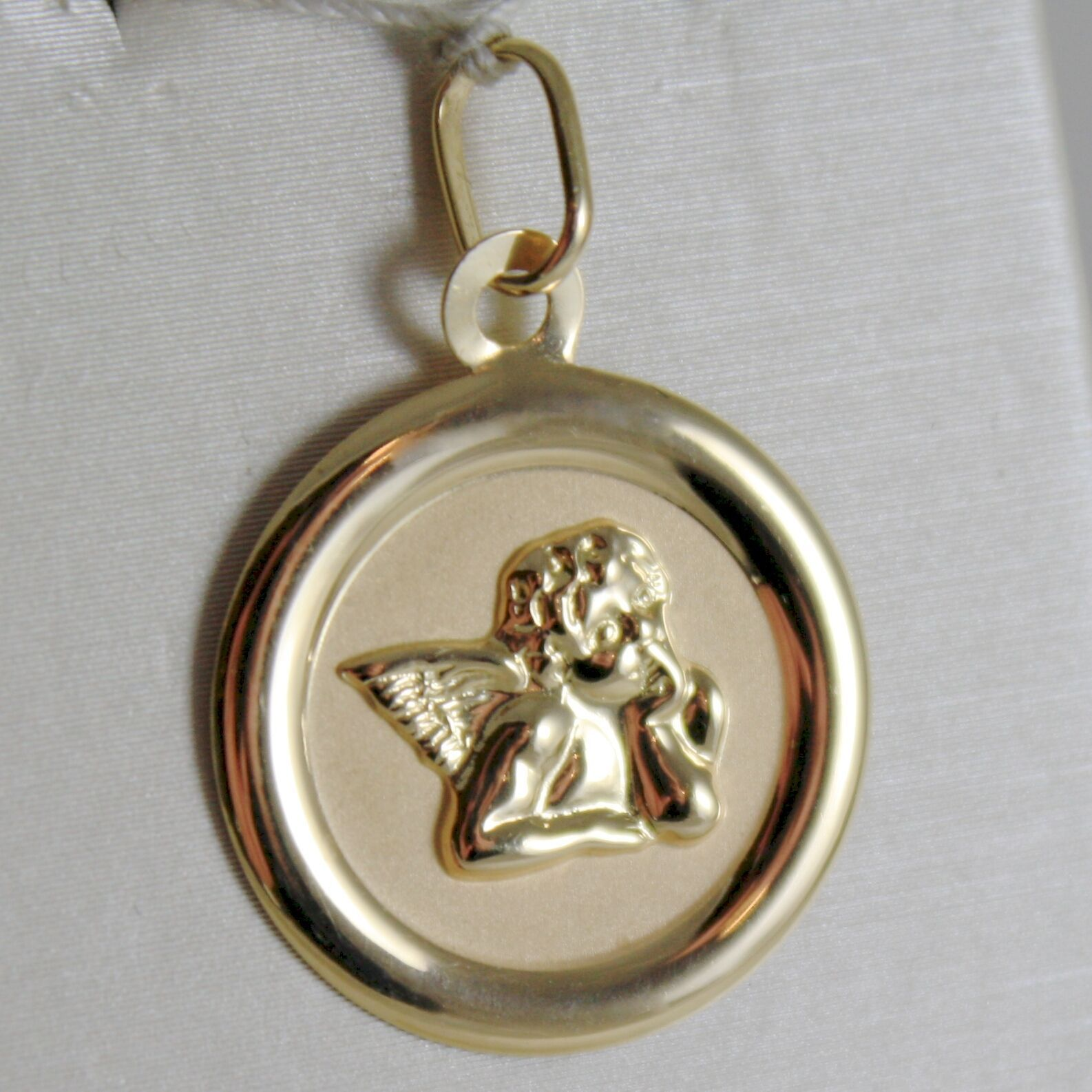 SOLID 18K YELLOW GOLD MEDAL PENDANT, GUARDIAN ANGEL LENGTH 1,06 IN MADE IN ITALY