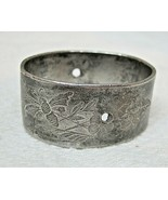 Antique Silver Plate Napkin Ring Floral Etched Scroll Design Oval w Hole... - $14.36