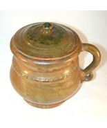 Rare 1937 Isaac Stahl Glazed Redware Green Colored Large Lidded Pot with Handle - $577.00