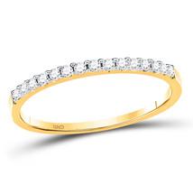 14kt Yellow Gold Womens Round Diamond Wedding Single Row Band 1/6 Cttw - $348.80