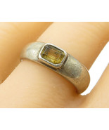 925 Sterling Silver - Vintage Bezel Set Citrine Solitaire Band Ring Sz 8... - $32.39