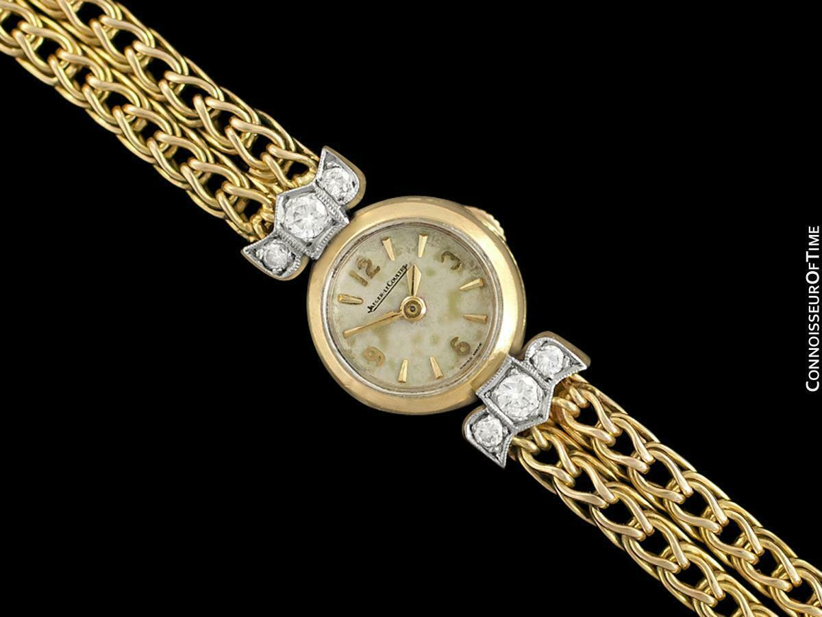 1950's JAEGER-LECOULTRE Vintage Ladies Backwind 18K Gold & Diamond Watch - Warra image 2