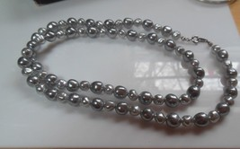 """Signed Crown Trifari Vintage Gray Faux Pearl Necklace 24.5"""" Long - $15.99"""