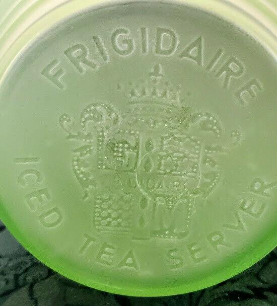 Vaseline Glass Jug Frigidaire Org. w-Cap Art Deco Real 1930's Rare & Perfect
