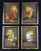 Vintage Owl Crewel Needlework Faux Wood Framed Wall Art Set of Four - £35.33 GBP