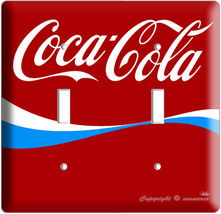New Coca Cola Blue Classic Coke Double Light Switch Cover Wall Plate Kitchen Art - $9.99