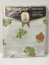 Vintage Percale Twin Fitted Sheet Wondercale Flower Dance Retro Design USA - $17.77