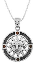 Jewelry Trends Sterling Silver Sun Pendant Medallion with Garnet on 18 I... - $45.58