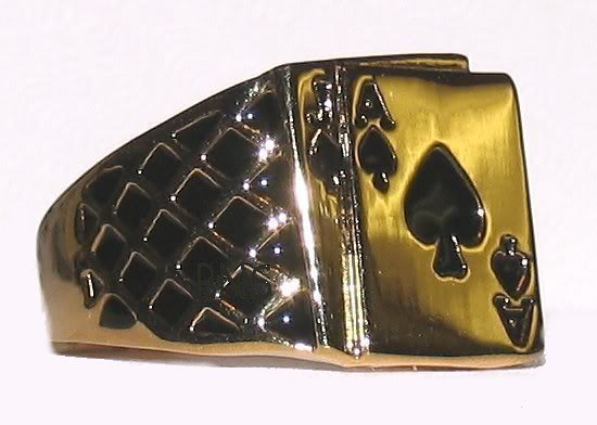 Primary image for Men's Blackjack Ring Ace of Spades Poker Casino Size 12