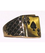Men's Blackjack Ring Ace of Spades Poker Casino Size 12 - £14.67 GBP