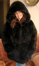 Fashionable dark brown hooded Jacket, made of baby alpaca fur, Small - $813.00