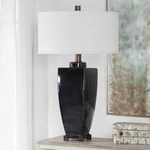 "WILFORD URBAN MODERN XXL 34"" AGED BRASS METAL CERAMIC TABLE LAMP BLACK I... - $376.20"