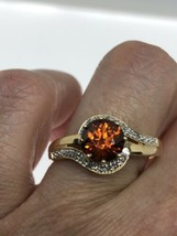 Vintage Garnet Ring Golden 925 Sterling Silver Size 10.5 - $118.80
