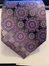Pierre Cardin Purple Silver Geometric 100% Silk Tie - $6.92