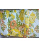 Vtg Old Stock (New) Throw Style Bedspread  Yellow Orange Green Flower Twin - £16.81 GBP