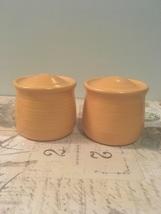 Vintage Pottery Salt & Pepper Set Orange Pottery Range Set  - $10.50