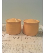 Vintage Pottery Salt & Pepper Set Orange Pottery Range Set  - $10.50