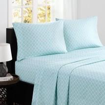 Luxury 4pc Aqua Blue & White Geometric Fretwork Design Cotton Sheet Set - 200TC - $52.24+