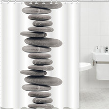 Shower Curtain Pebbles Tub Waterproof Bathroom Zen Stones Novelty Stylis... - $34.34
