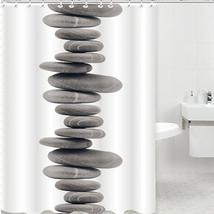 Shower Curtain Pebbles Tub Waterproof Bathroom Zen Stones Novelty Stylish Soothi - $34.34